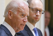 US Vice President Joe Biden (L) speaks during a meeting with Arseniy Yatsenyuk