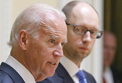 US Vice President Joe Biden (L) and Ukrainian Prime Minister Arseniy Yatsenyuk (R). Archive