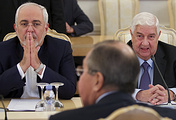 Foreign Ministers from Iran, Russia, and Syria, Mohammad Javad Zarif, Sergey Lavrov and Walid al-Moallem