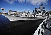 Indian missile destroyer taking part in India-Russia joint naval exercises