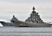Admiral Kuznetsov aircraft carrier and the Pyotr Veliky nuclear-powered battleships