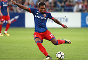 FC CSKA Moscow's Vitinho kicks the ball during the second leg of their 2017/18 UEFA Champions League third qualifying round tie against AEK Athens