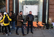People are waiting for the start of iPhone X sales outside re:Store store on Tverskaya Street