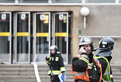 Fire fighters at the entrance to Sennaya Ploshchad station of the St Petersburg metro in the aftermath of explosion, April 3, 2017