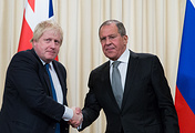 British Foreign Secretary Boris Johnson and Russian Foreign Minister Sergey Lavrov