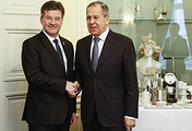 Slovak Foreign Minister Miroslav Lajcak and Russian Foreign Minister Sergey Lavrov
