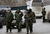 Servicemen seen during an exchange of war prisoners between the Ukrainian government and the Donetsk People's Republic (DPR) on December 27, 2017