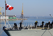 The Canadian Forces' HMCS Toronto (FFH 333) Halifax-class frigate at the port of Odessa