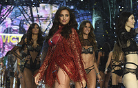 Irina Shayk walks the runway at the Victoria's Secret Fashion Show  in Paris, November 30