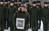 A funeral ceremony for Russia's chief military conductor, Lieutenant General Valery Khalilov