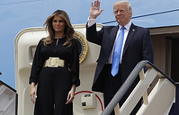 US President Donald Trump and first lady Melania Trump at the Royal Terminal of King Khalid International Airport in Riyadh
