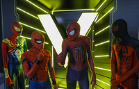 Men dressed as Marvel superhero Spider-Man gather for show at the exhibition 'Marvel Avengers Station' in Moscow