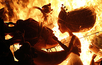 "Monuments burn in a fire during the traditional ""Las Fallas"" festival in Valencia, Spain"
