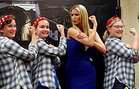 Ivanka Trump poses with members of the Girls of Steel Robotics initiative, at the Astrobotic Technology facility in Pittsburgh, August 14