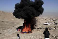 A drug burning ceremony on the outskirts of Kabul, Afghanistan