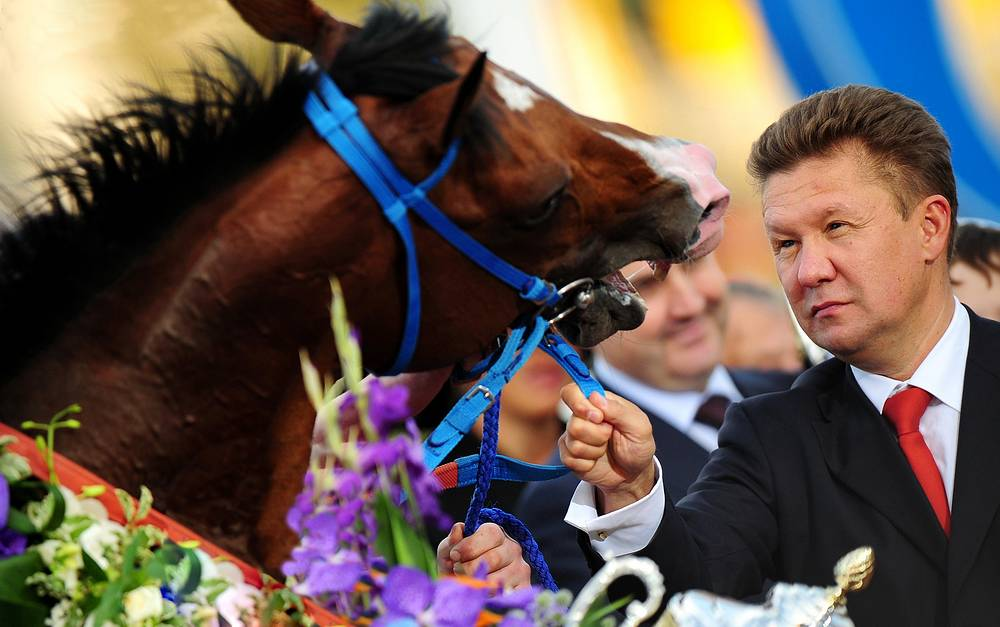 Gazprom chairman Alexey Miller during the awards ceremony for the winners of the X Horse races for the prize of the President of the Russian Federation  at Moscow's Central hippodrome. July 1, 2013.