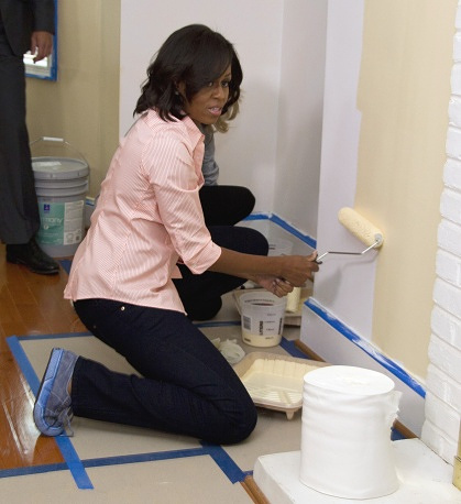The First Lady participates in a program to help veterans find work and improve their living conditions