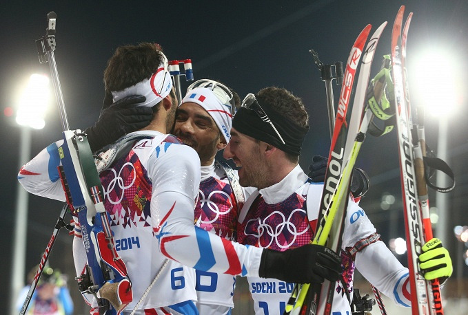 French biathletes Martin Fourcade, Simon Fourcade and Jean Guillaume Beatrix