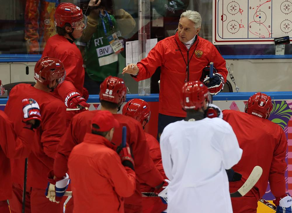 Russian ice hockey team with coach Zinetula Bilyaletdinov