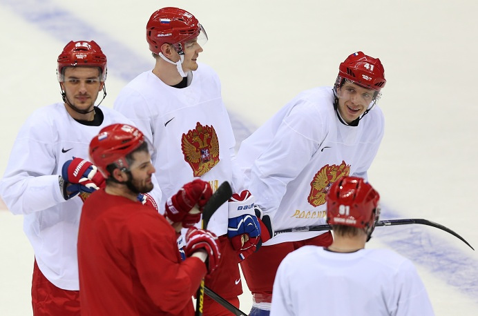 Russian ice hockey team during first training session at Winter Olympics in Sochi