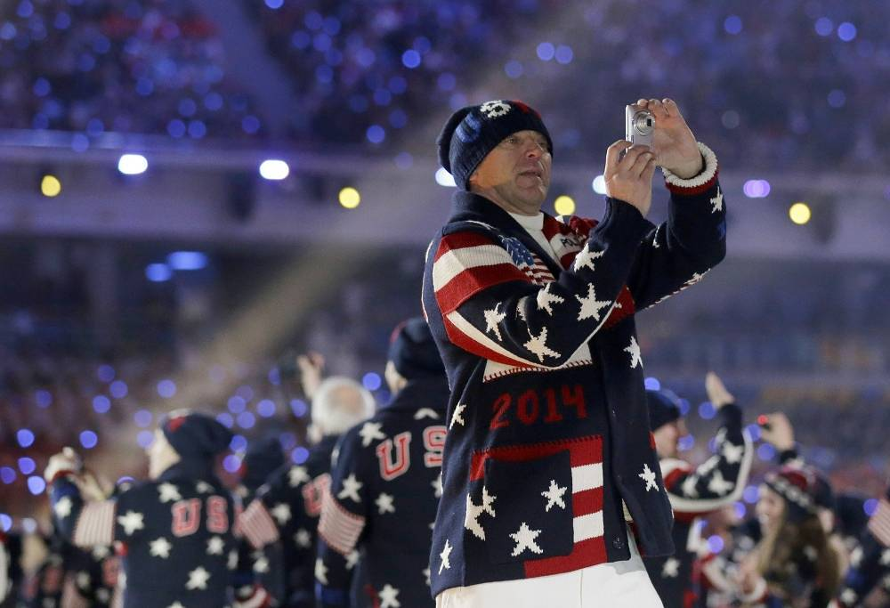 Member of the US national team at the opening ceremony