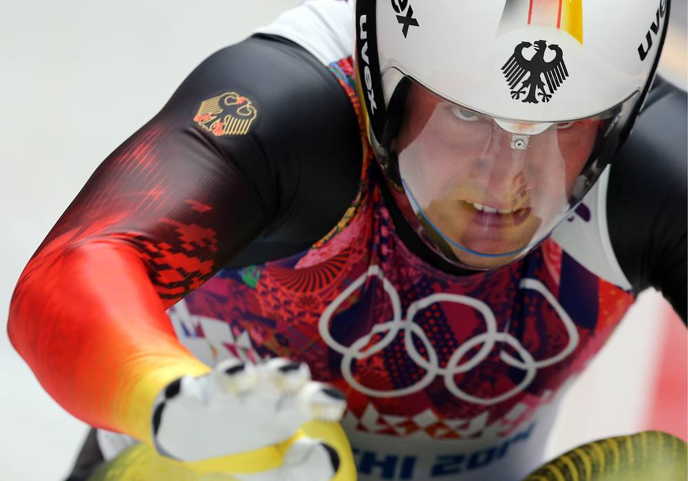 David Moeller of Germany competes in the Men's Luge Singles run two