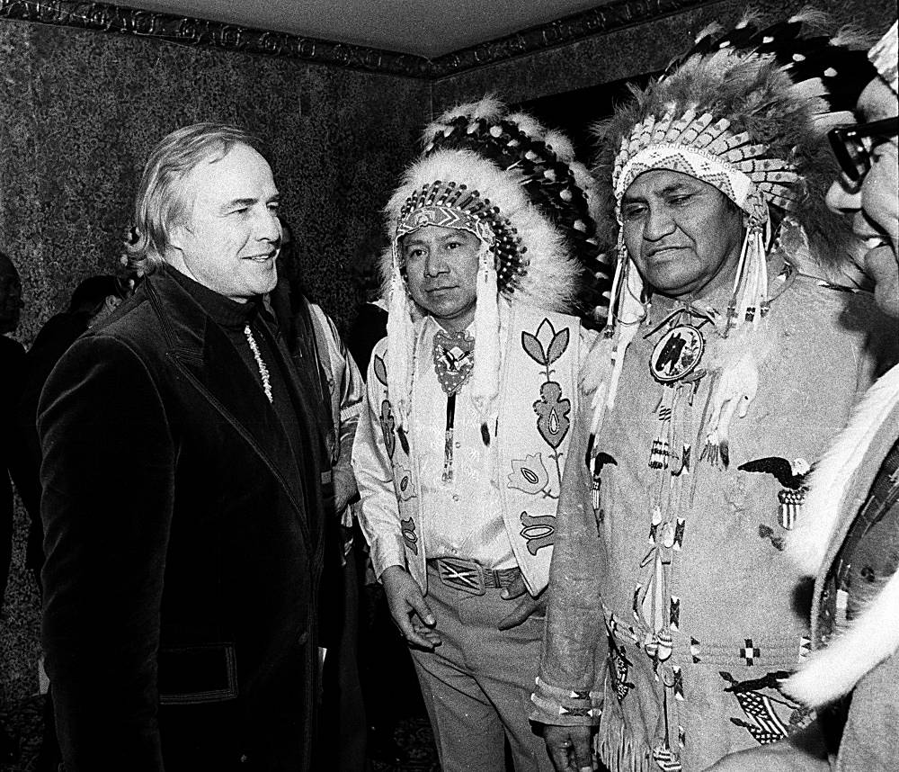 Outside show business Marlon Brando was politically invovled supporting the American Indian movement. Photo: Brando with Indians in 1974