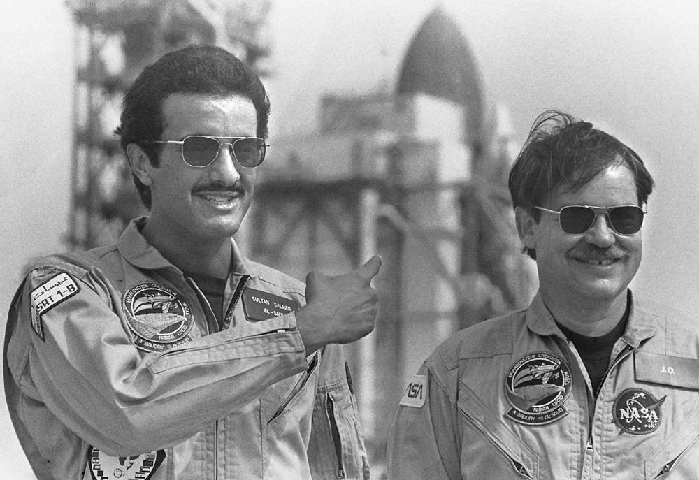 Sultan bin Salman Al Saud (left). Being a member of the Saudi royal family, he was the  first astronaut of royal blood. He flew in June 1985 aboard the American Discovery Shuttle
