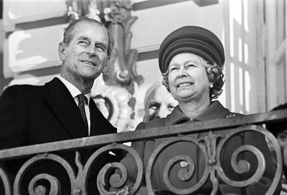 Queen Elizabeth II and Prince Philip, Duke of Edinburgh, on the porch of the Catherine Palace during the visit to Russia in 1994