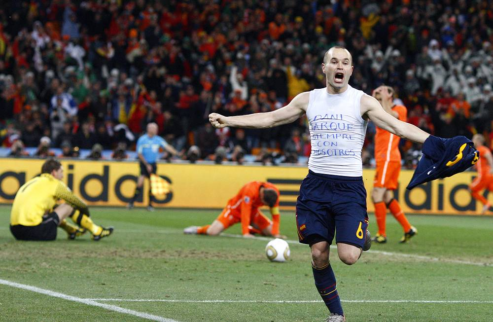 2010 FIFA World Cup was held in South Africa. In the final, Spain defeated the Netherlands 1-0 with a goal from Andrés Iniesta Photo: Spain's Andres Iniesta celebrates after scoring
