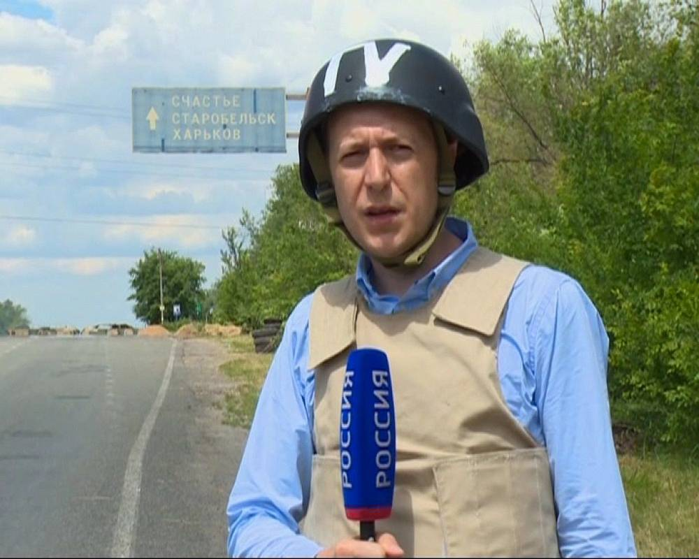Russian journalist Igor Kornelyuk in Ukraine's Luhansk Region on June 17, 2014