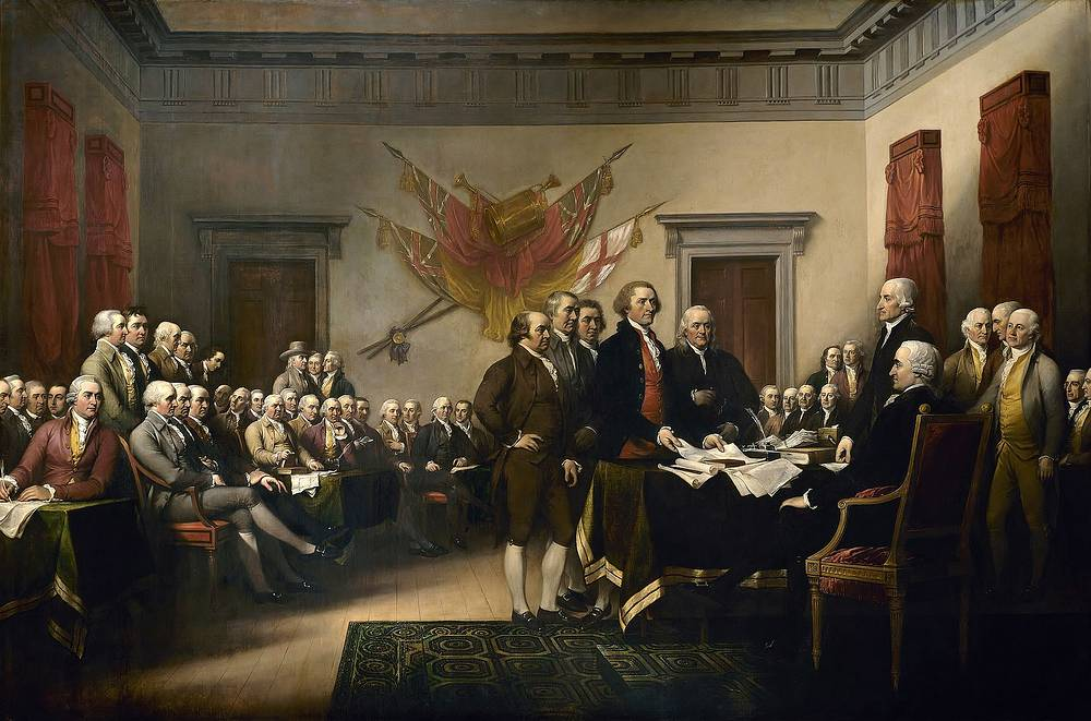 US Declaration of Independence was adopted on July 4, 1776. It announced that the 13 American colonies regarded themselves no longer a part of the British Empire. Photo: Declaration of Independence, painting by John Trumbull