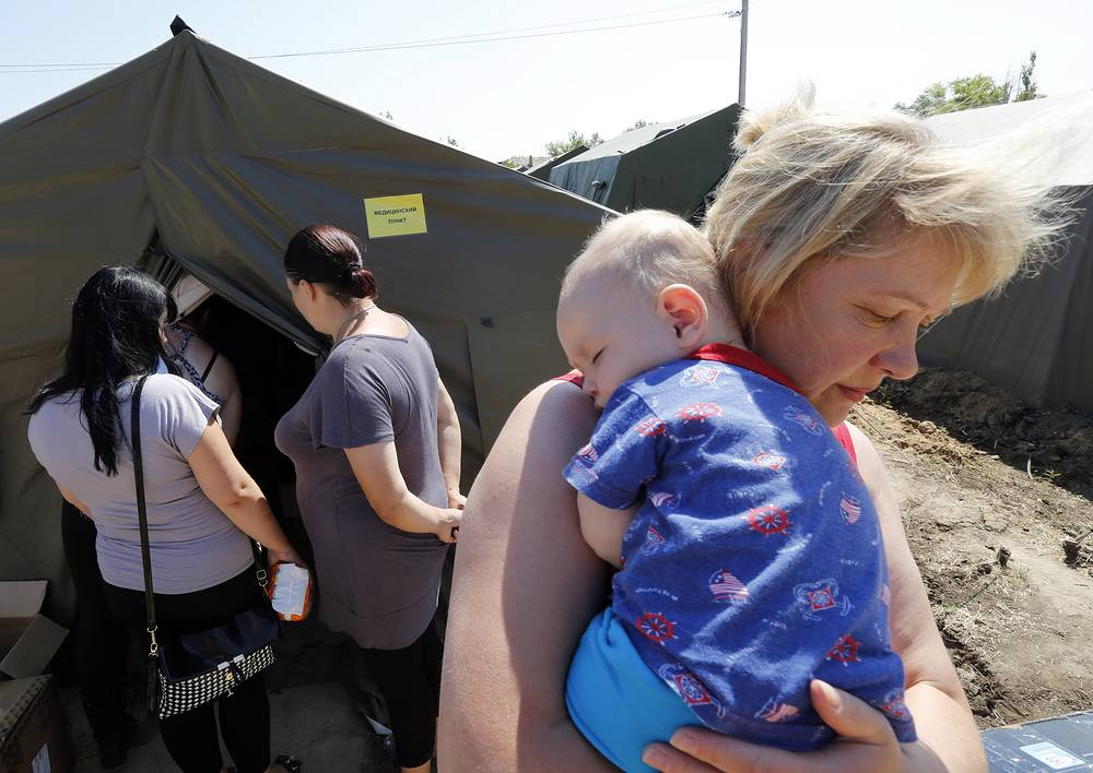 At a refugee camp in Russia's Rostov Region