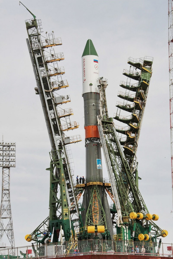 Soyuz-U carrier rocket on the launch pad