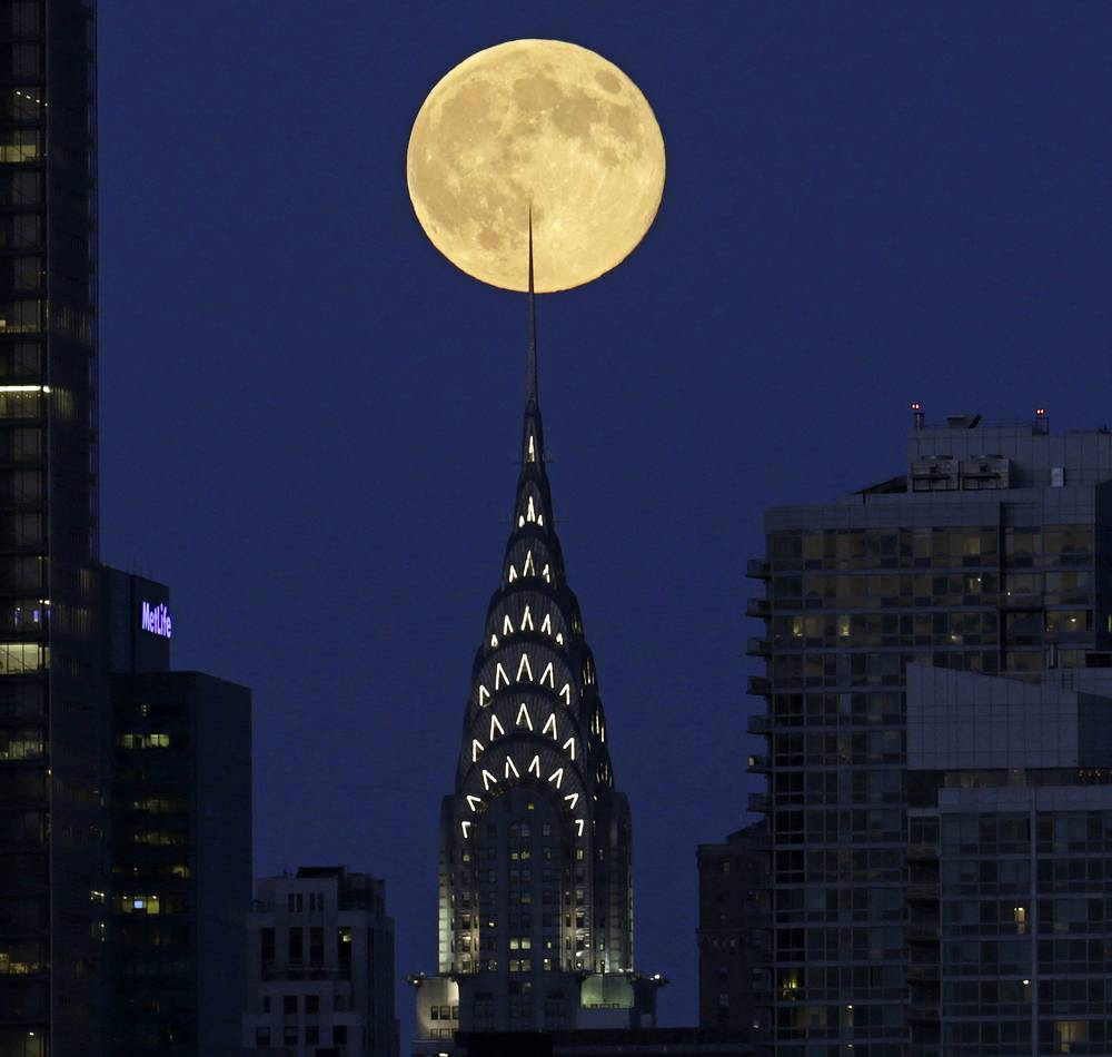Supermoon behind the Chrysler Building in New York City