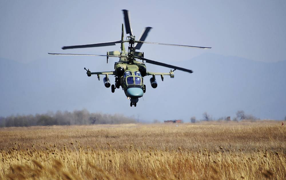 "Kamov Ka-52 ""Alligator"" attack helicopter. The machine has a distinctive coaxial rotor system of the Kamov design bureau"