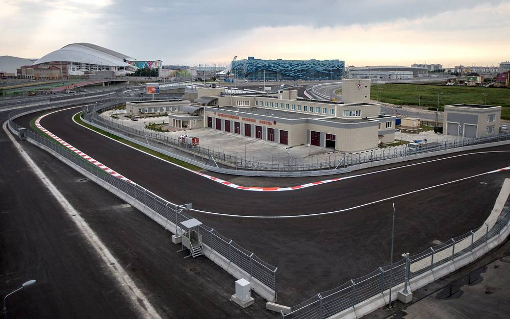 A view of the Formula One race track in Sochi