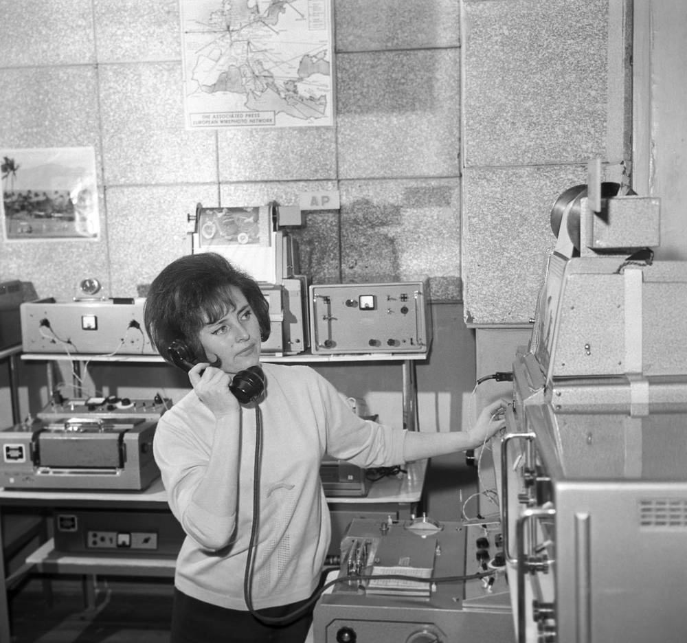 An operator in the hall of the facsimile service of the TASS Main Communication Directorate, 1967