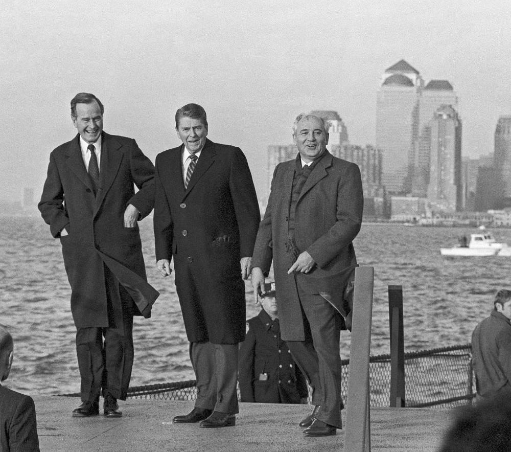 Mikhail Gorbachev, Ronald Reagan and George Bush in the admiral's house on Governors Island, 1988