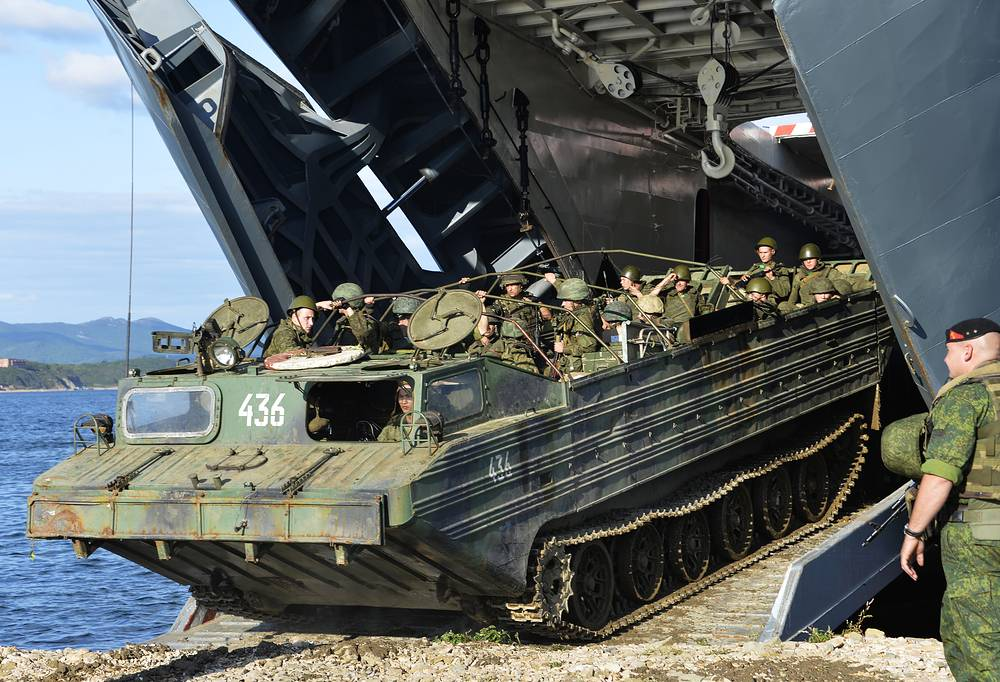 The drills will focus on the tasks of troops' regrouping for large-distance re-deployment. Photo: armored vehicles of the Russian Marine Forces board the Peresvet major amphibious ship