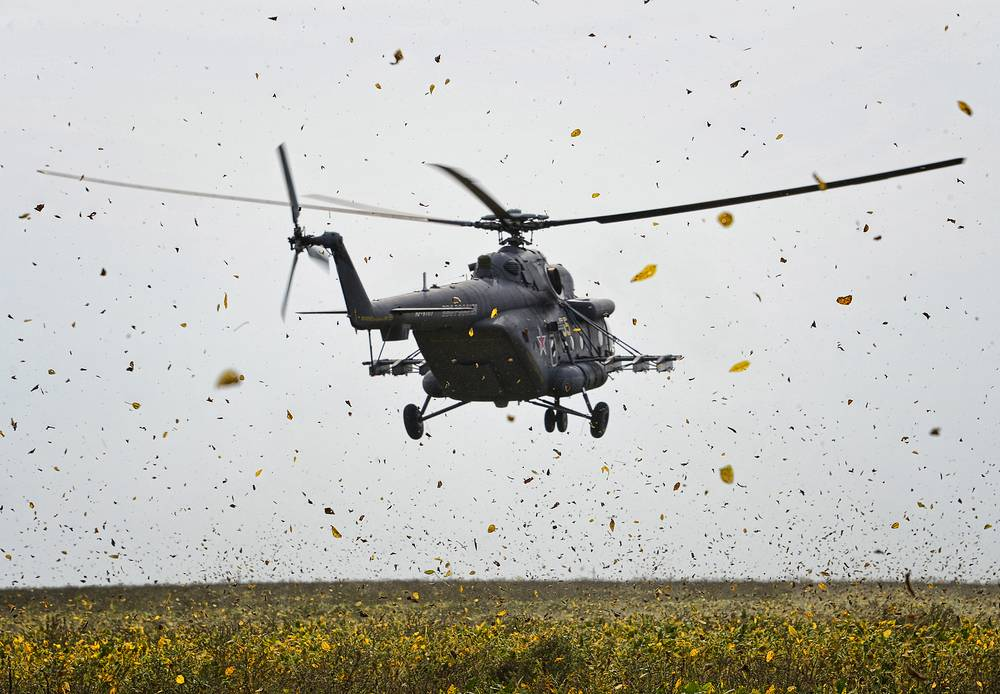 Ka-52 combat helicopter during the drills