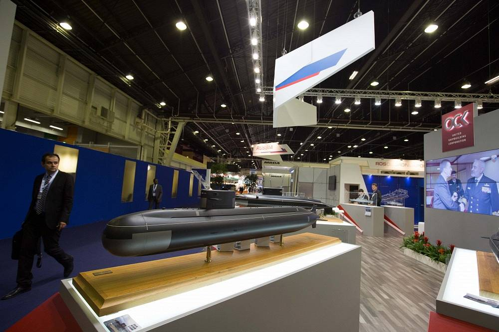 Model of Amur-1650 diesel-electric submarine at the stand of Russian United Shipbuilding Corporation