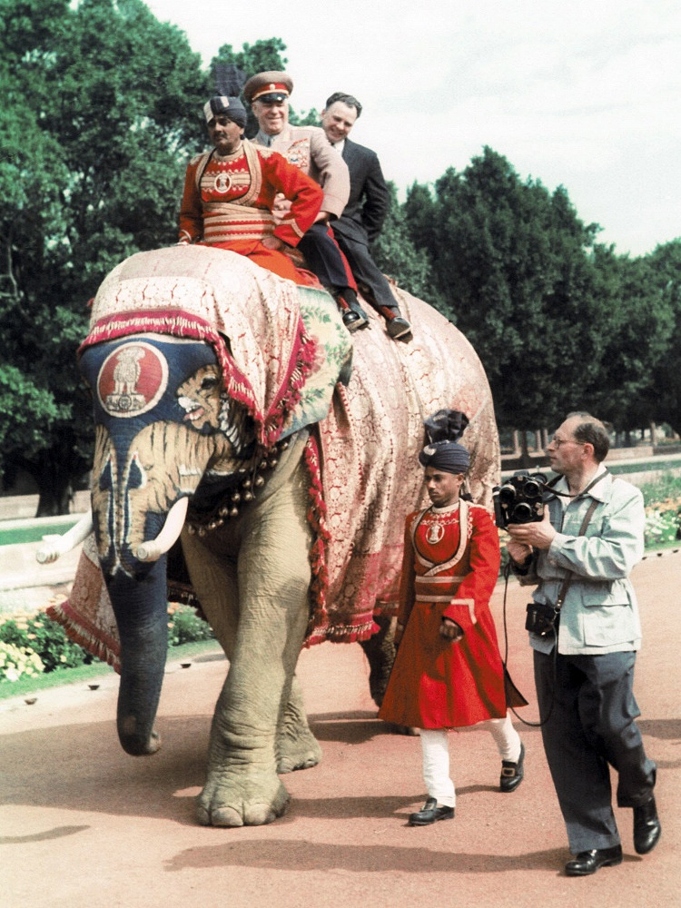 Marshal Georgy Zhukov during a visit to India, 1957