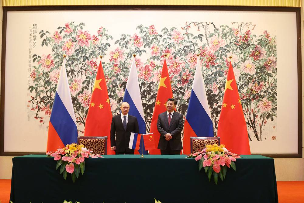 The talks were crowned by the signing of 17 Russian-Chinese documents, including those on cooperation in the gas sector. Photo: Vladimir Putin and Xi Jinping during a signing ceremony at the Diaoyutai State Guesthouse in Beijing, China, 09 November 2014