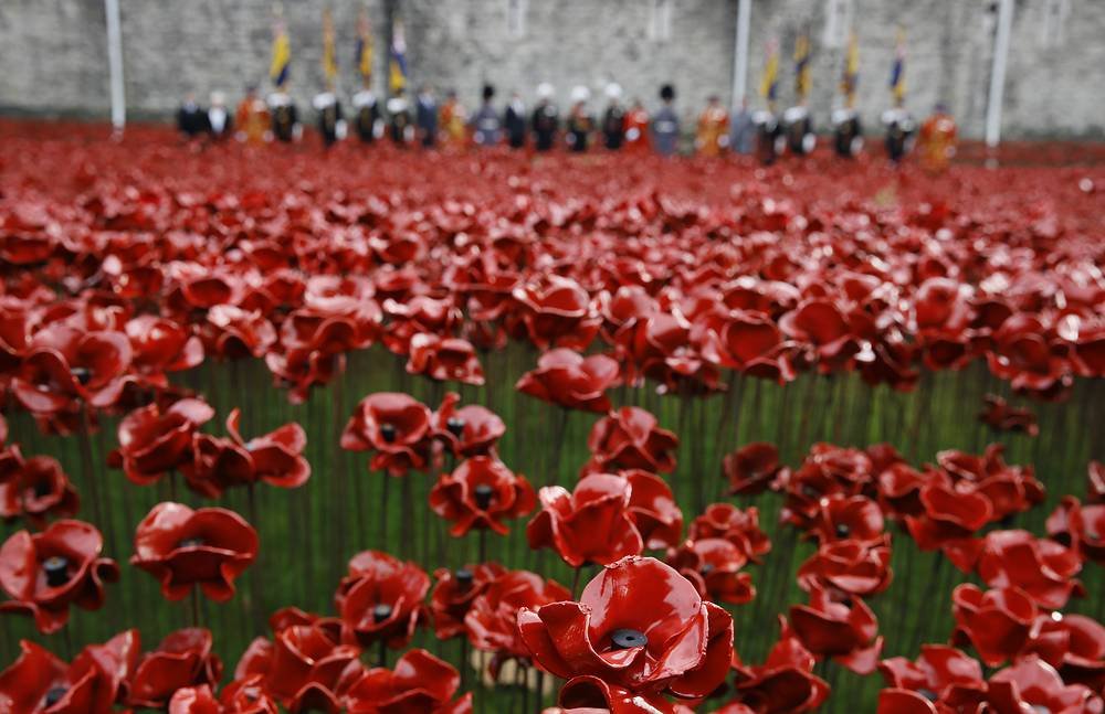 A lot of countries, especially members of the Commonwealth observe Remembrance day to honor all killed in wars since then. Photo: Ceramic poppy art installation' in the Tower of London. The finished installation will be made up of 888,246 ceramic poppies