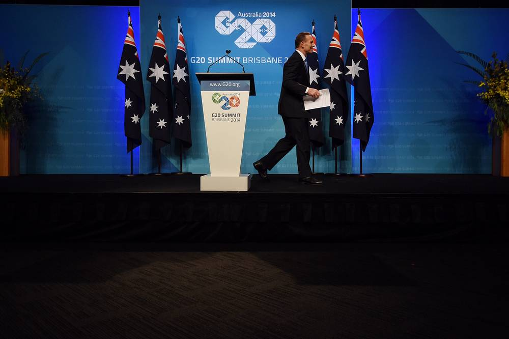 Two working meetings were held during the closing day of G20 summit - the first one devoted to sustainable development of global economy and the second one - to energy problems. Photo: Australian Prime Minister Tony Abbott