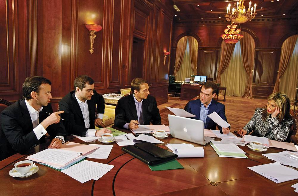 Dmitry Medvedev addressed the Russian parliament as president four times. In his first address Medvedev spoke about Georgia's aggression in South Ossetia and the global financial crisis. He also proposed extending the presidential and parliamentary terms to six and five years, respectively. Photo: Dmitry Medvedev and his aides preparing for the state-of-the-nation address. November 2, 2008