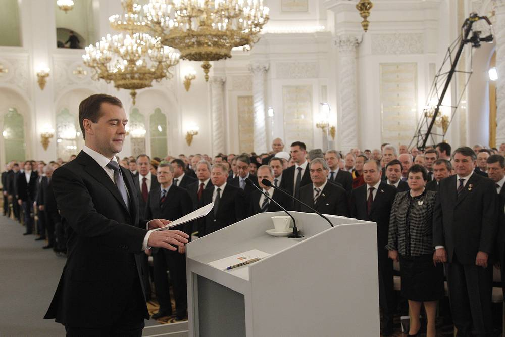 In his last address made on December 22, 2011, Medvedev proposed returning to direct gubernatorial elections and easing the registration procedure for political parties.