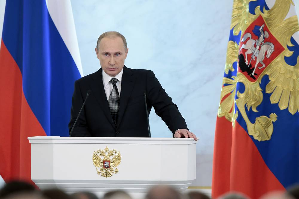 In his annual state of the nation address Vladimir Putin told about US influence and sanctions against Russia