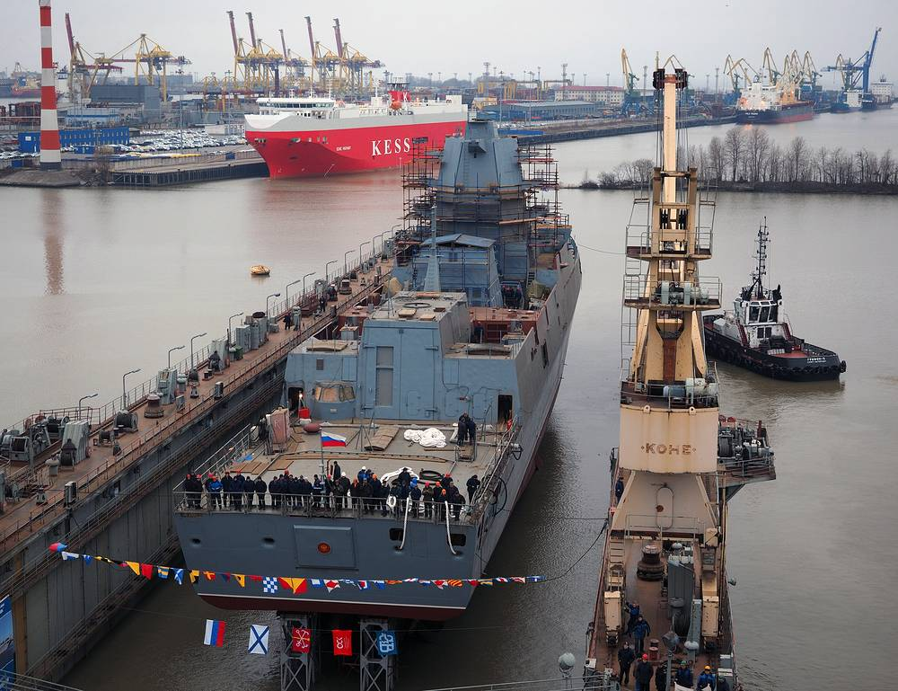 The second Project 22350 frigate, the Admiral Kasatonov, was set afloat at the Northern Wharf in Russia's northern capital of St. Petersburg